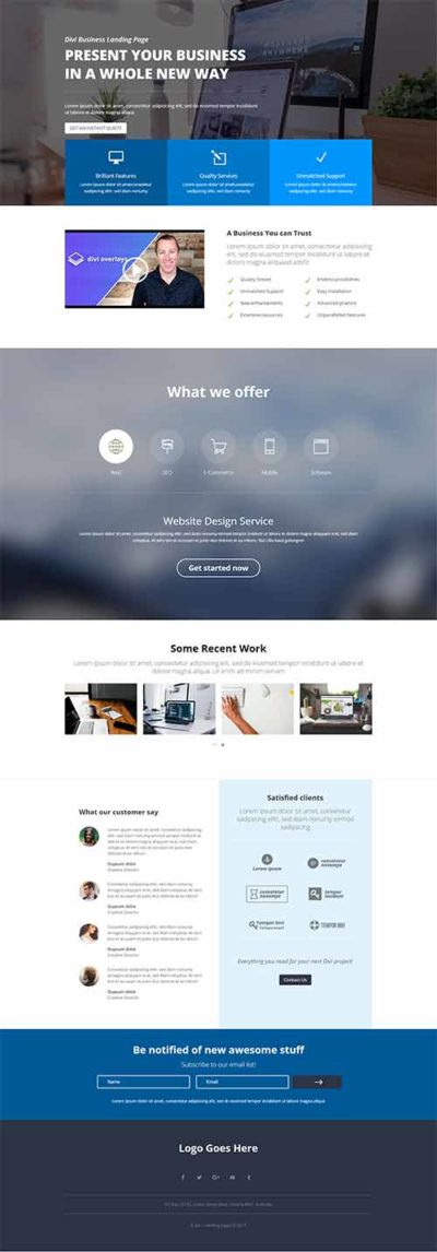 divi business landing layout