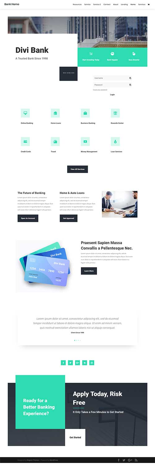 divi bank template