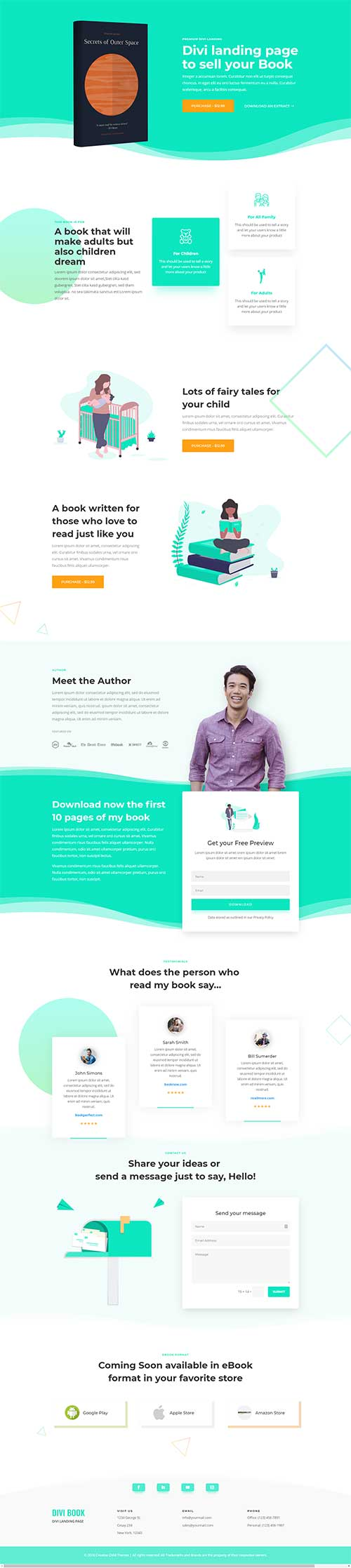 divi ebook landing page layout