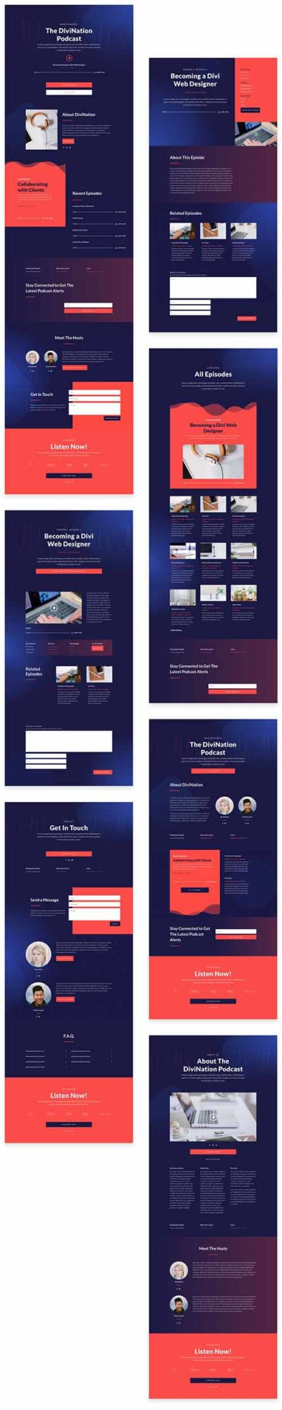 divi podcast website layout