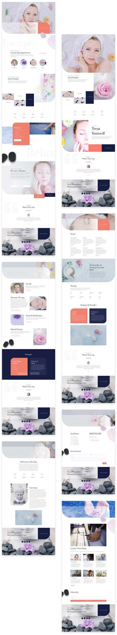 divi day spa layouts