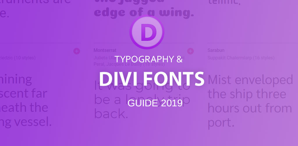 Divi Fonts guide 2019