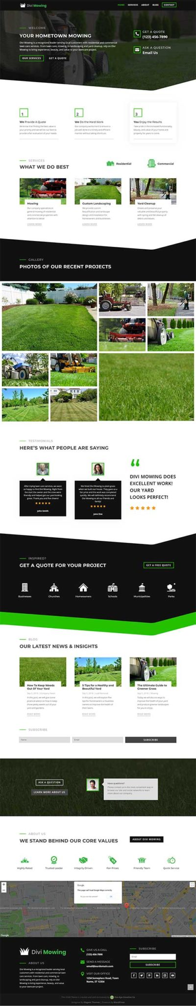 divi lawnmowing layout pack