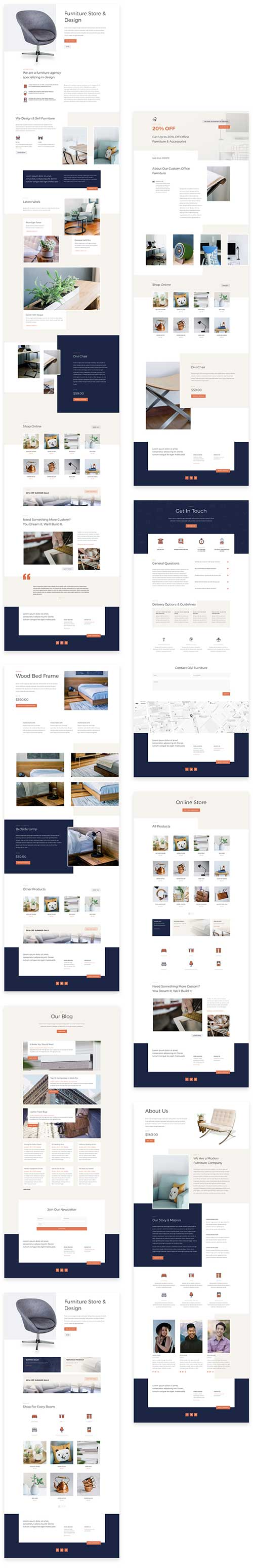 divi layouts furniture store