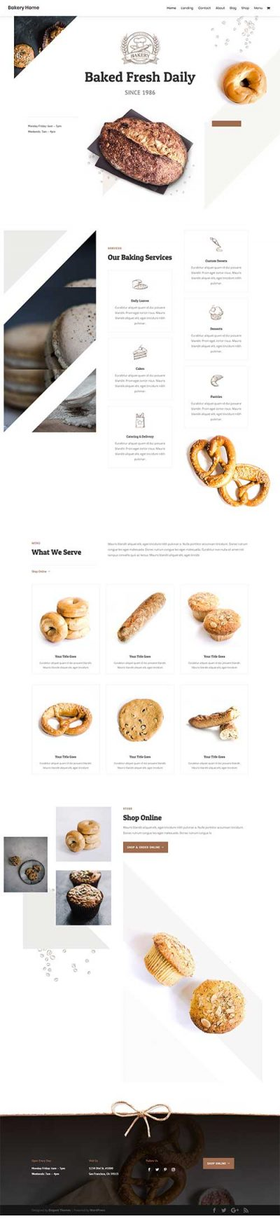 divi cake shop layout