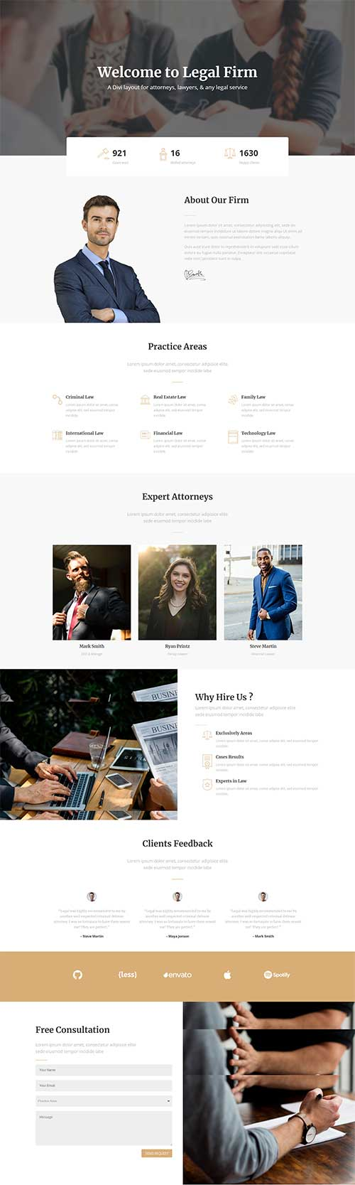 Divi legal landing page layout