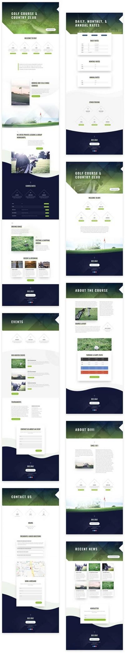 divi golf course layout template