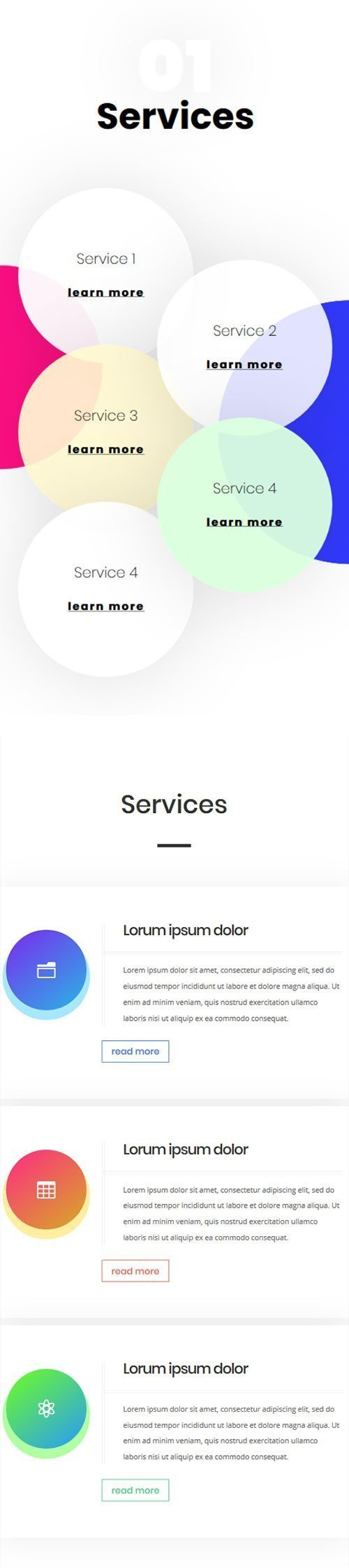 divi mobile services layouts