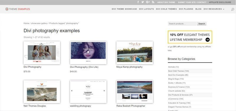 divi photography examples