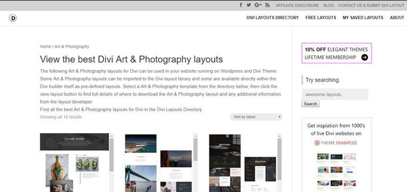 divi photography layouts