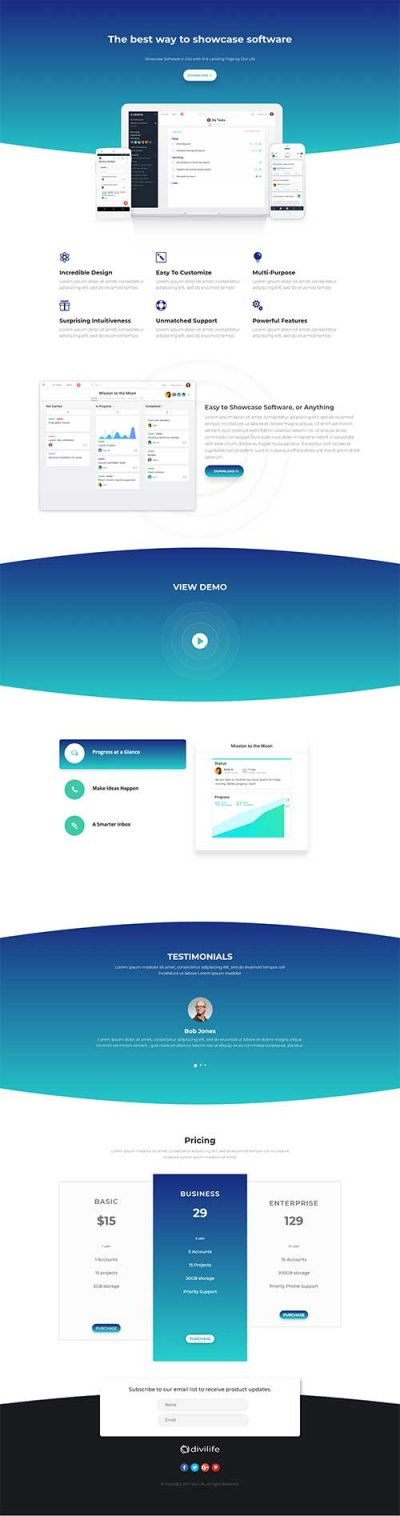 divi software landing page layout