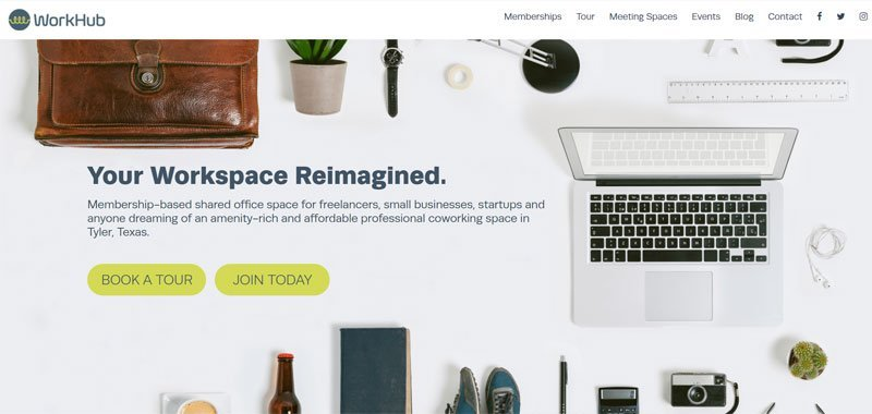coworking website design example