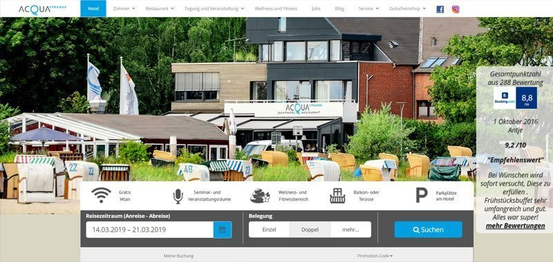 hotel web design example Divi Theme