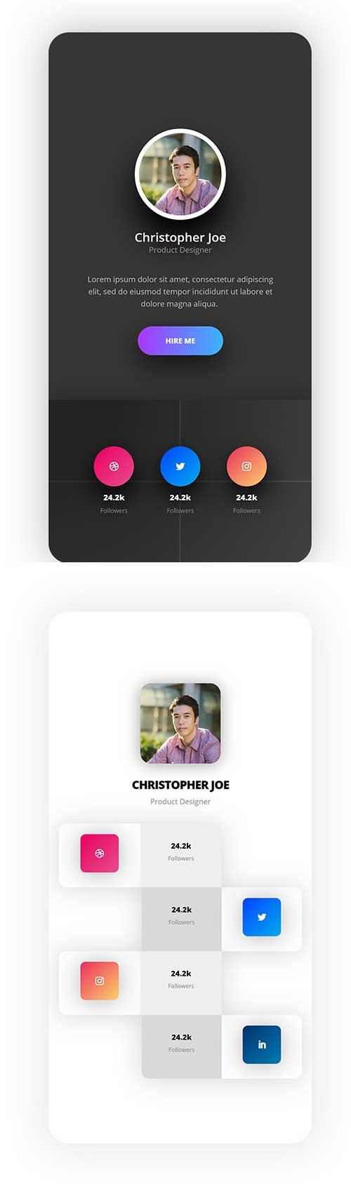 mobile social follow json