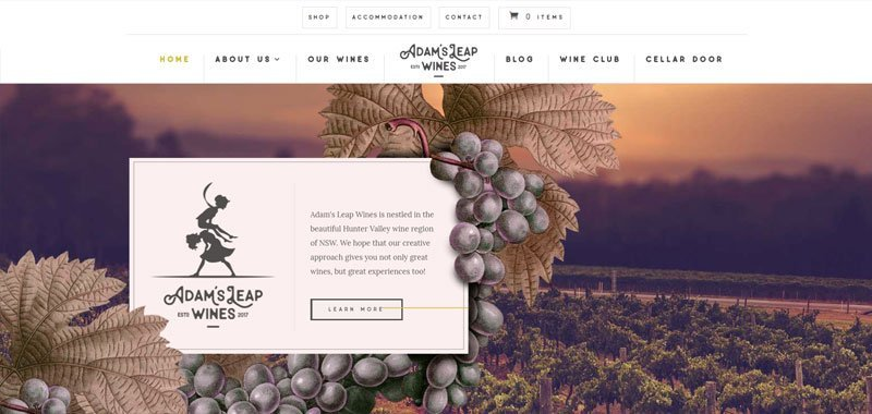 winery website divi example