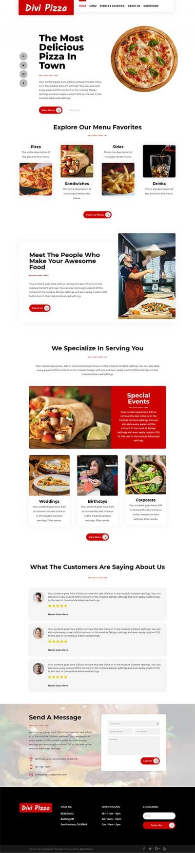 Divi pizza restaurant layout