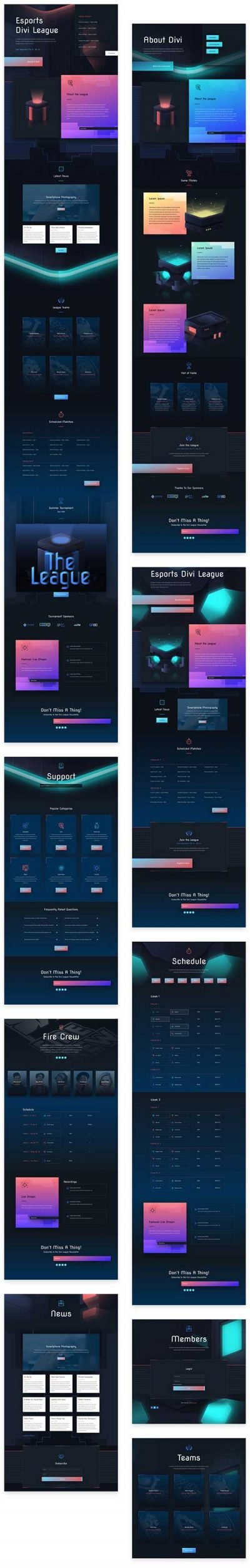 esports gaming page templates