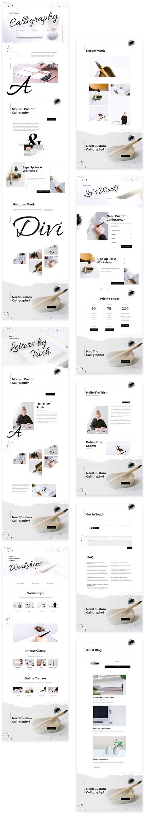 calligraphy writer layout