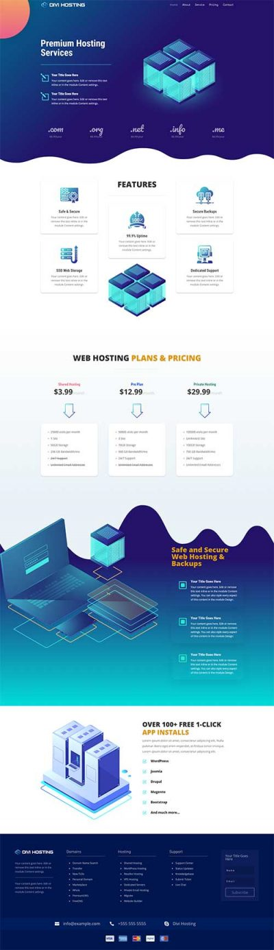divi hosting layout pack