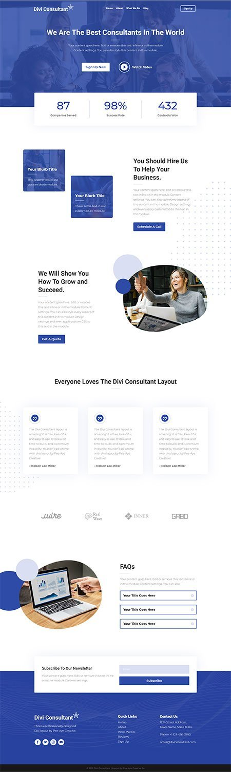 divi consultand layout free download