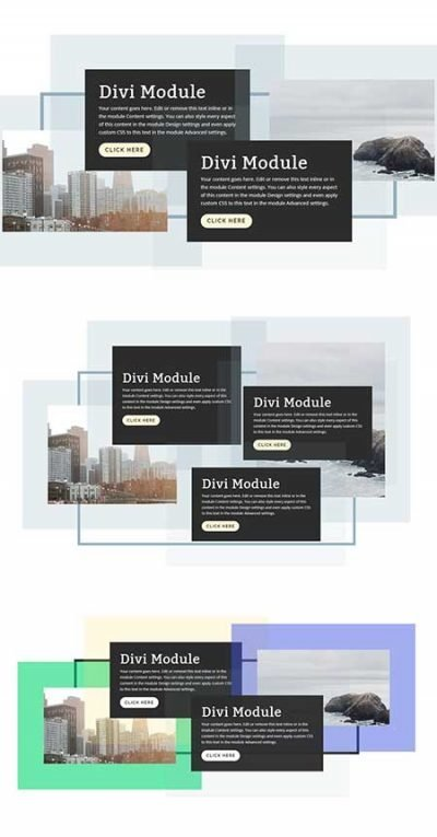 divi staggered content