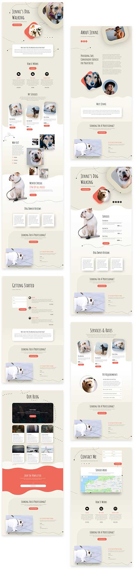 divi dog walker template