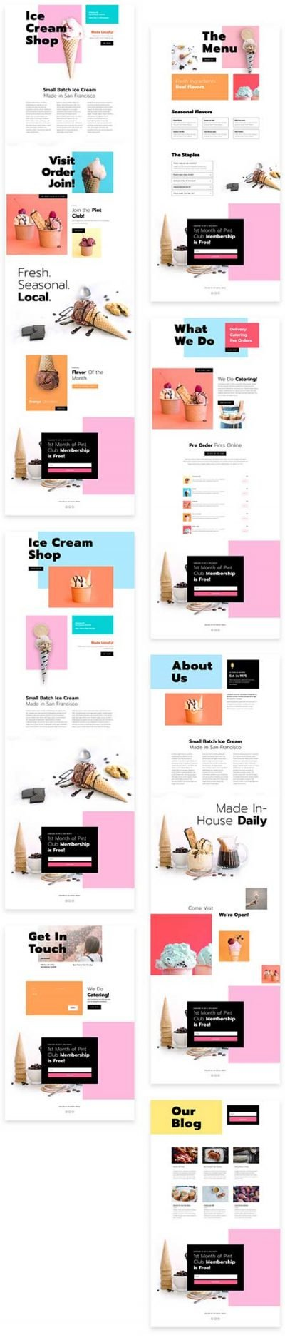 divi icecream shop template