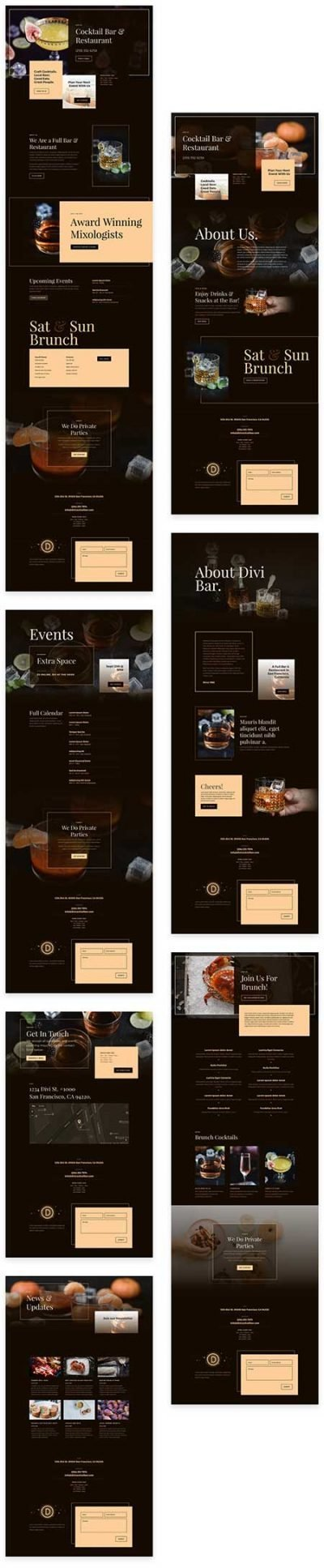 Divi cocktail bar template