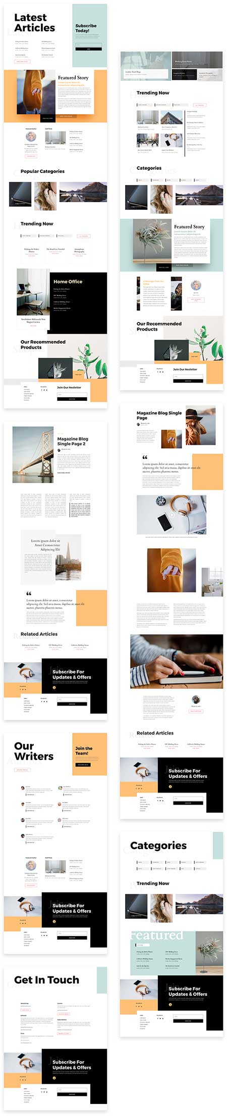 Free blog website template for Divi