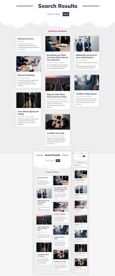 Theme Builder search results template