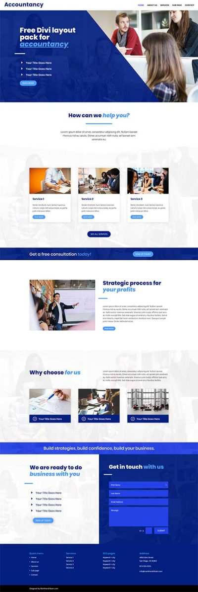 Divi layout pack for accountant website