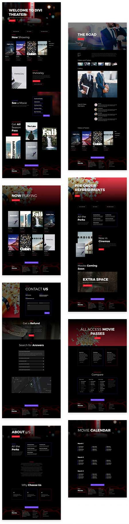 Divi layout pack for cinema website