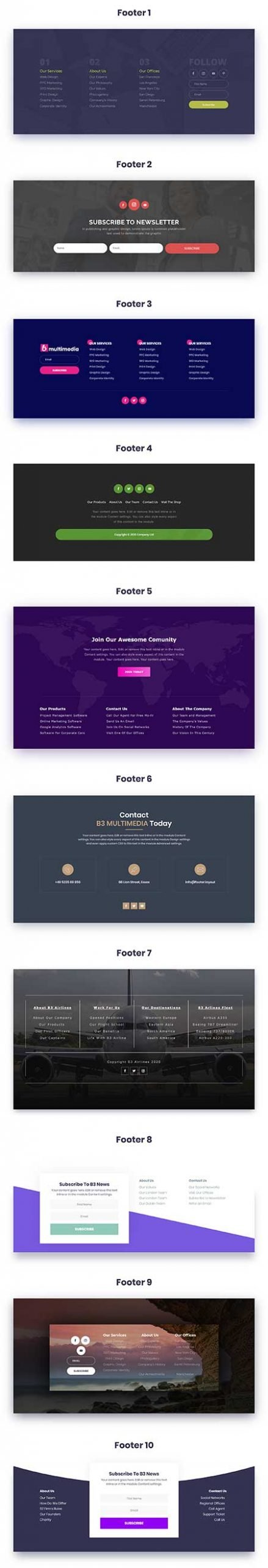 free Divi footer layouts
