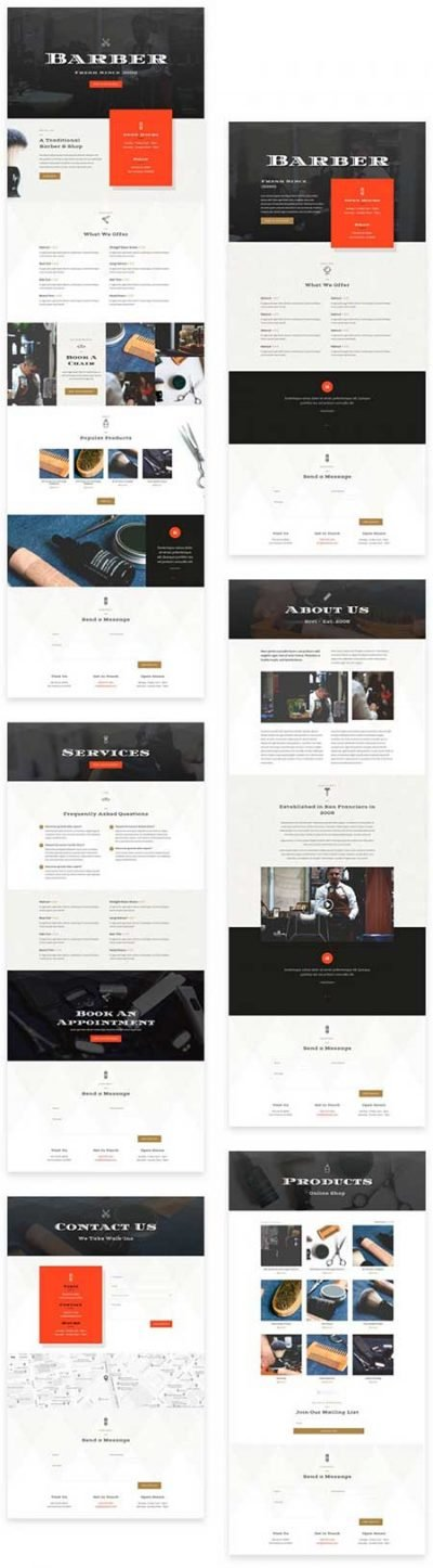 Divi barbershop layout pack