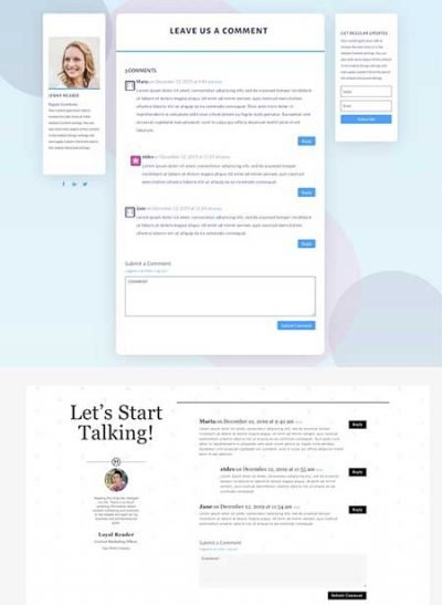 Divi comments module template