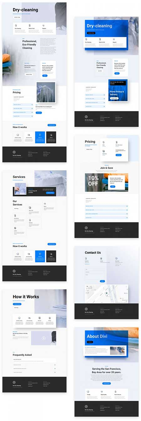 Divi dry cleaners layout pack