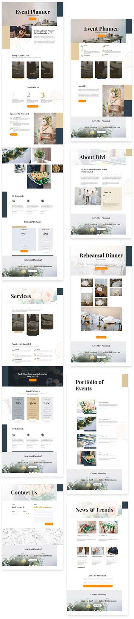 Divi event planner template