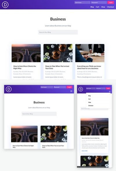 Divi global header login form