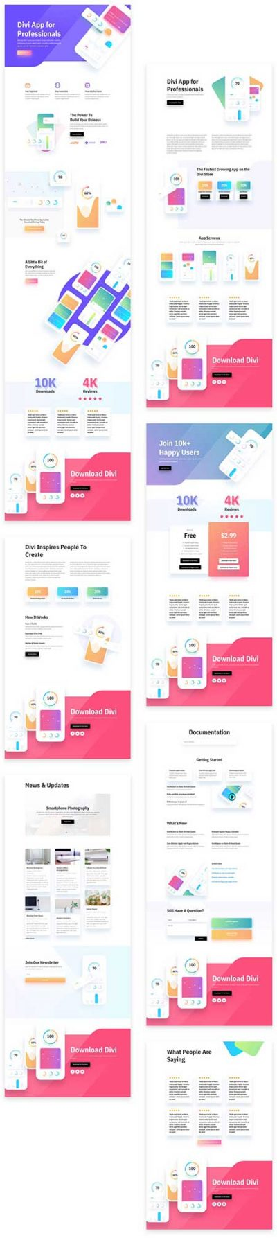 Divi mobile app layout pack