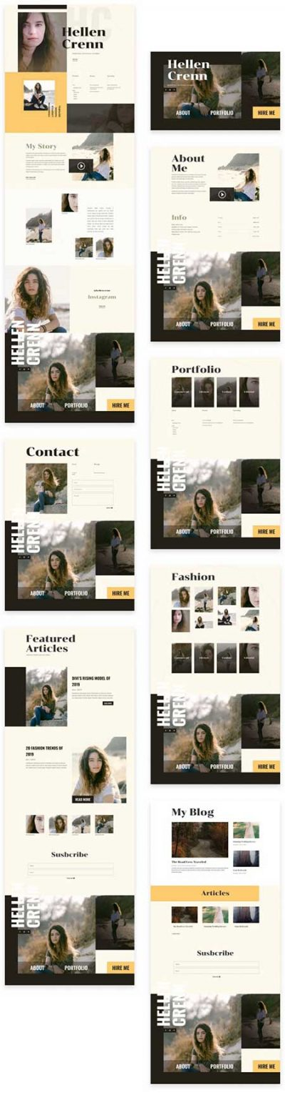Modeling portfolio layout pack