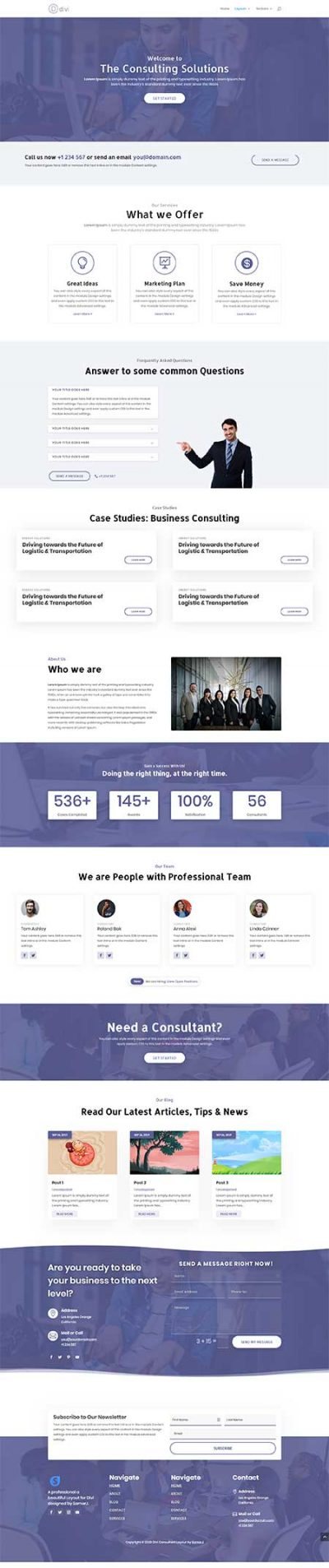 Divi consultant homepage layout