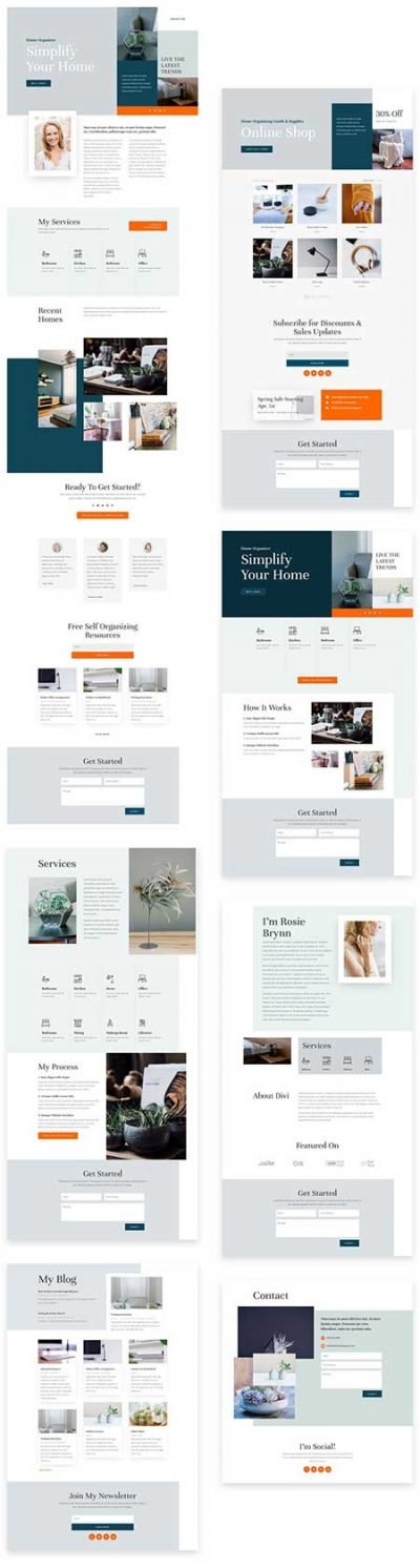 Divi home organizer layout