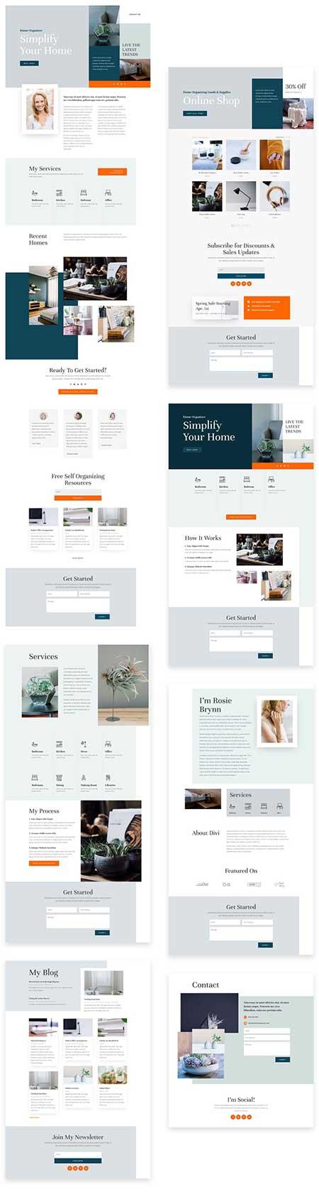 Divi home organizer layout