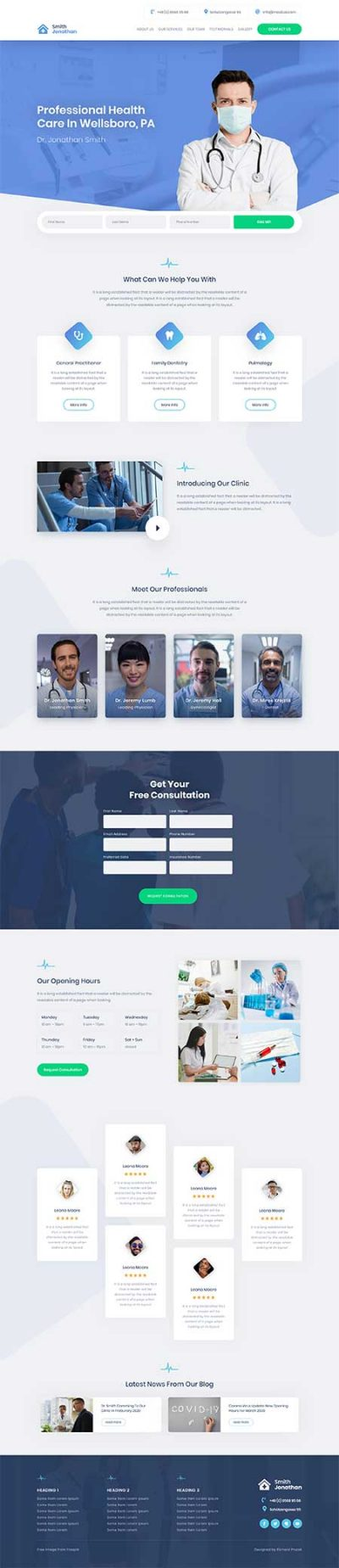 Divi medical homepage layout