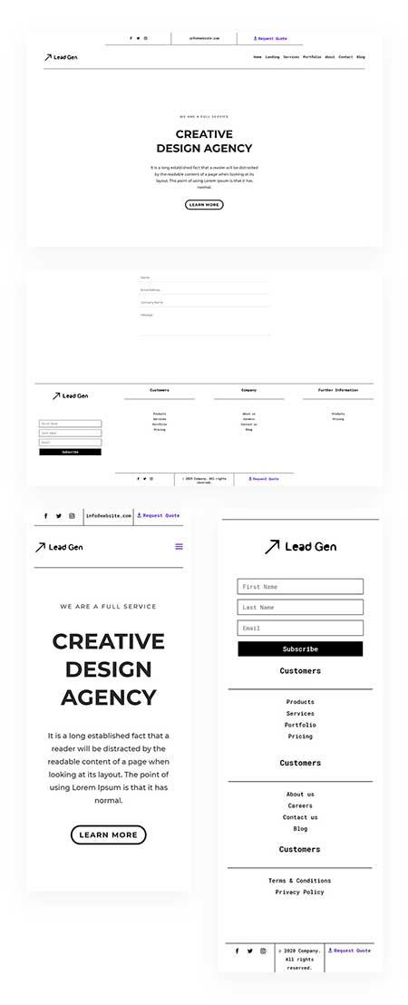 Divi minimal header & footer layout