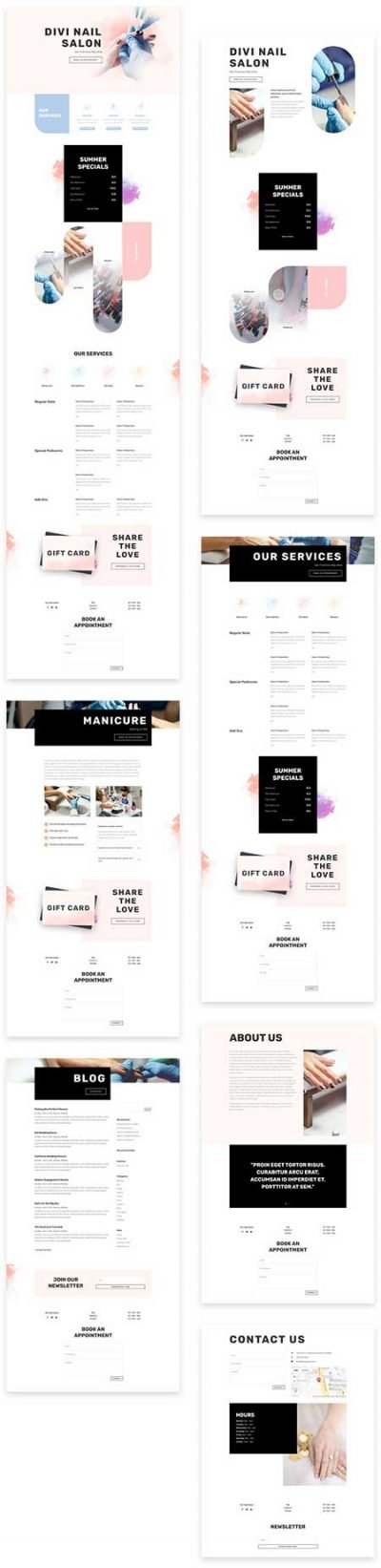 Divi nail salon website template