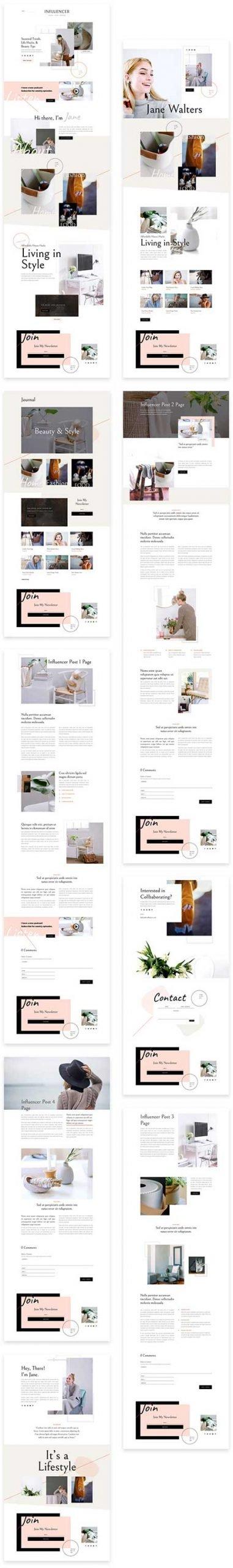 influencer website template