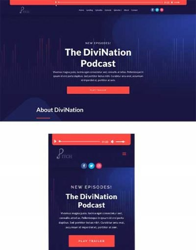 Divi Audio Bars template