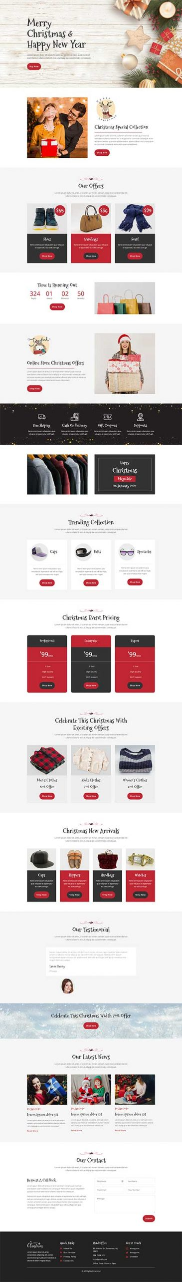 Divi Christmas store layout