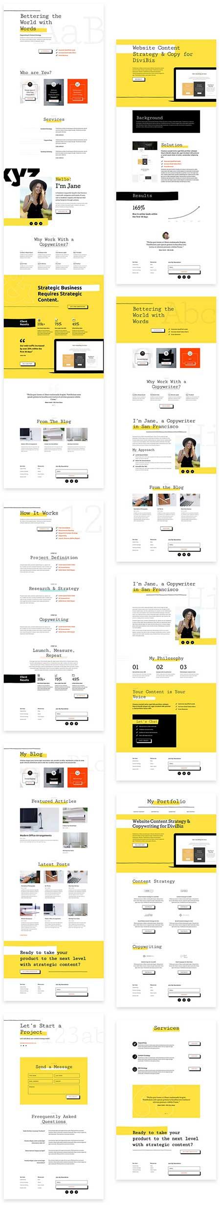 Divi freelance writer layout
